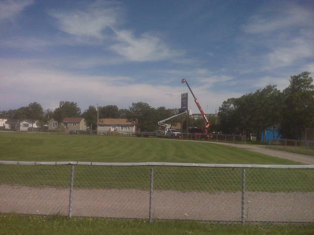 Removal of the old score clock at St. David's