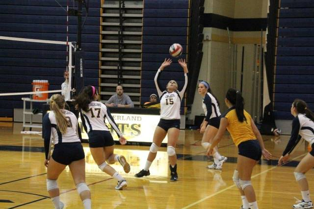 Andrea Allen setting ball vs Batavia