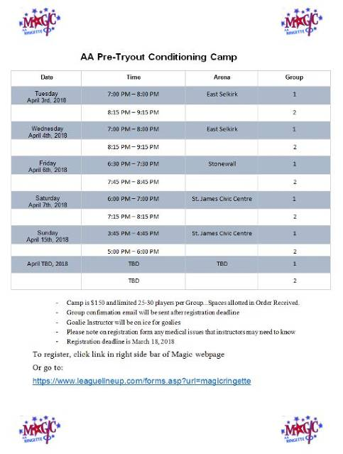 Magic AA Pre-Tryout Conditioning Camp